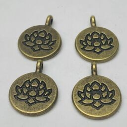 Lotus Flower Charm, Bronze