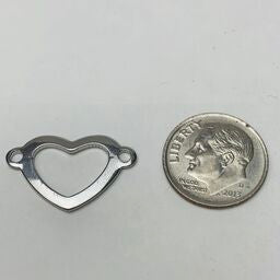 Heart Connector Charm, Silver