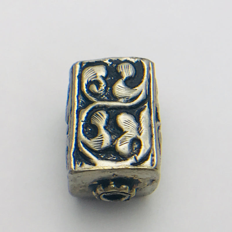 Ornate Rectangular Tibetan Silver Bead 14x20mm