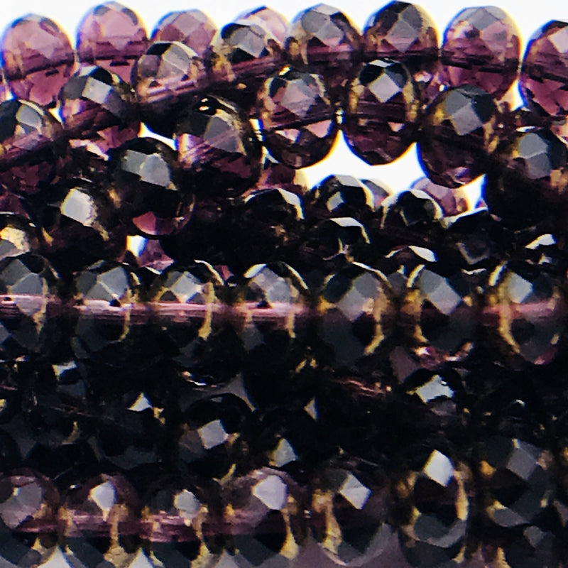 Rondelle Czech Glass Beads Purple with Brass Finish 5x7mm