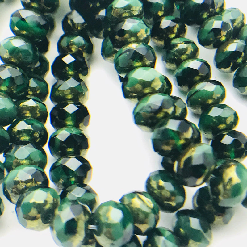 Rondelle Czech Glass Beads Hunter Green with Gold Finish 5x7mm