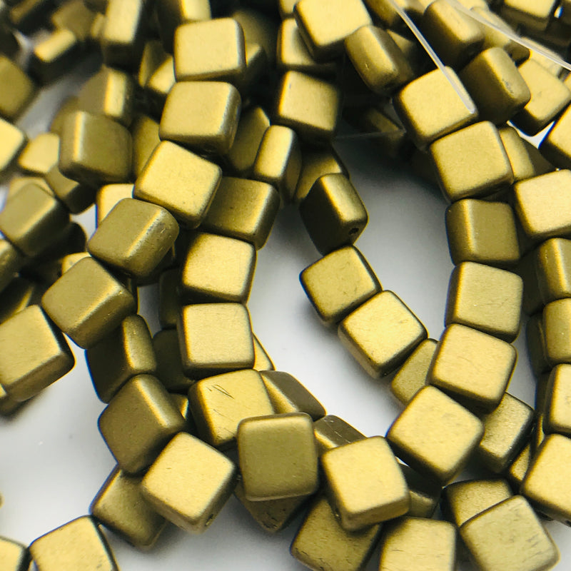 Two Hole Tile Beads Matte Brass 6mm