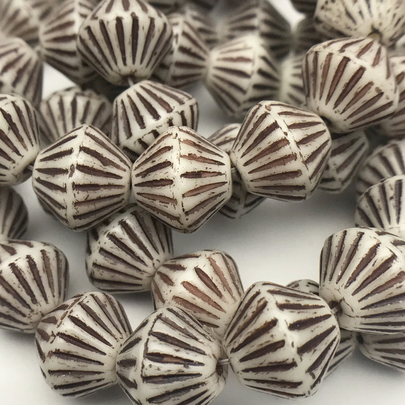 African Bicone Czech Beads 11mm Ivory with Brown Finish
