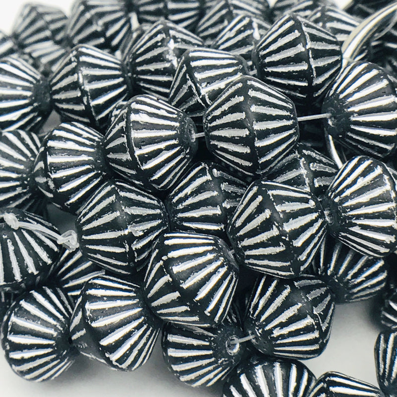 African Bicone Czech Beads 11mm Black with Silver Wash