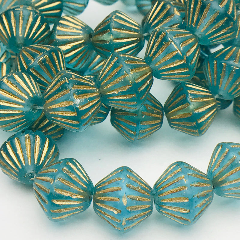 African Bicone Czech Beads 11mm Sky Blue with Gold Wash