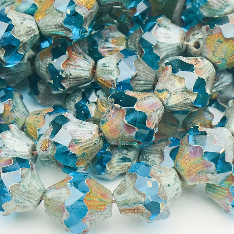 Baroque Bicone Czech Beads  13x11mm Sky Blue with Picasso Finish
