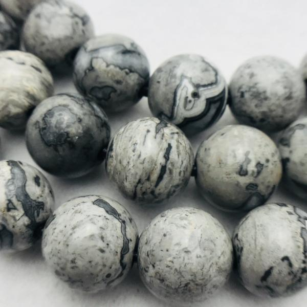 leopard jasper large hole gemstone bead 14mm