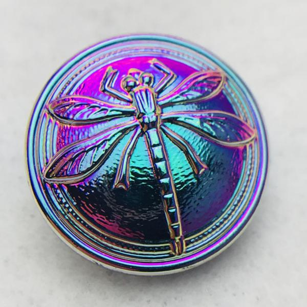 Dragonfly Czech Button 18mm Blue Vital with Pink