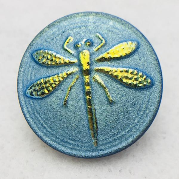 Dragonfly Czech Button 18mm Green Blue