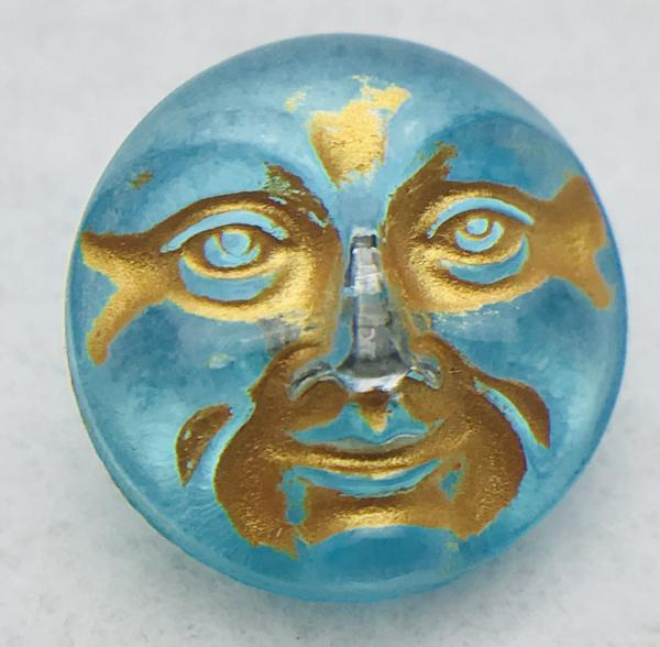 Moon Face Czech Button 18mm Aqua with Gold