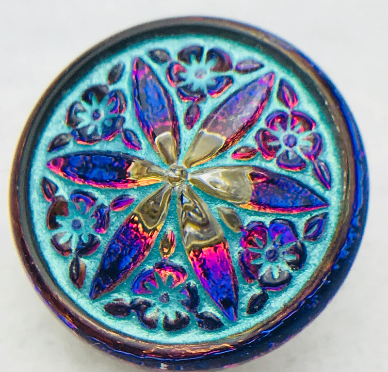 Star Flower Czech Button 18mm Volcano Vitral Turquoise