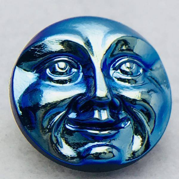 Moon Face Czech Button 18mm Metallic Blue