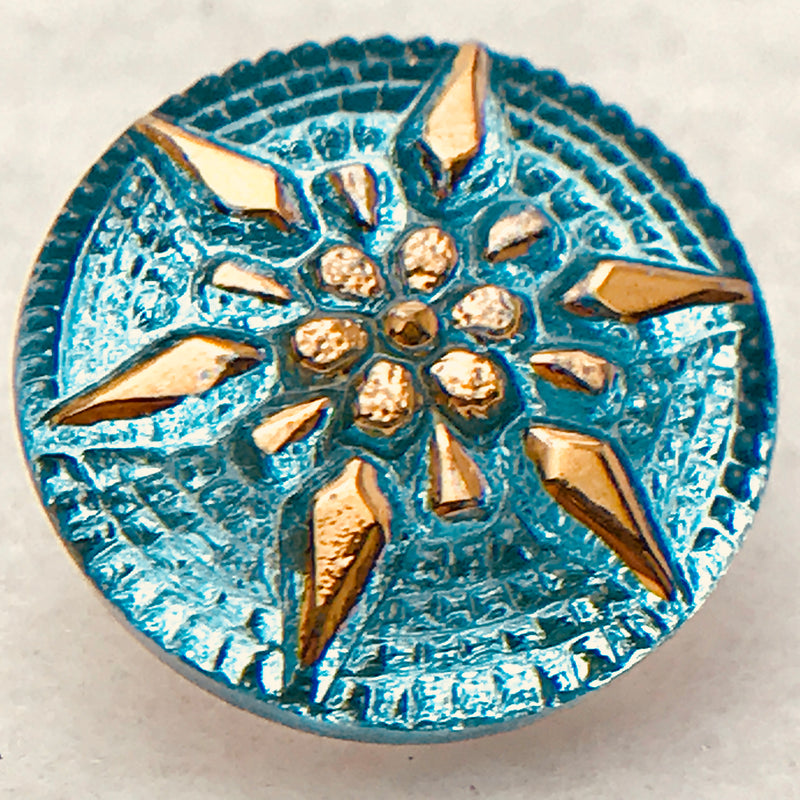 Star Czech Button 18mm Turquoise Gold