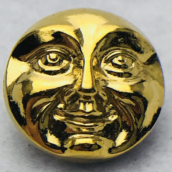 Moon Face Czech Button Button 18mm Gold