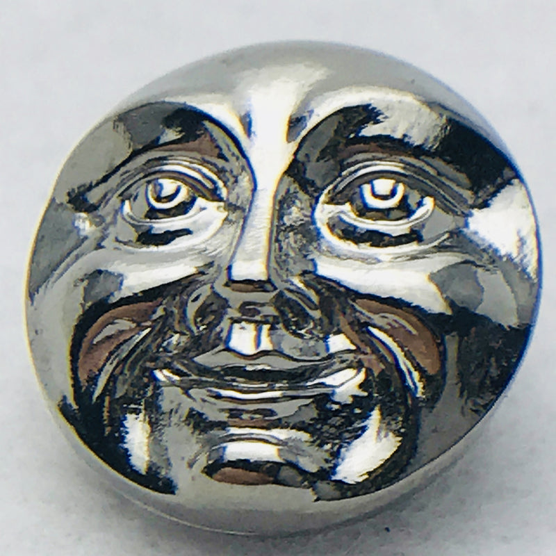 Moon Face Czech Button 18mm Silver