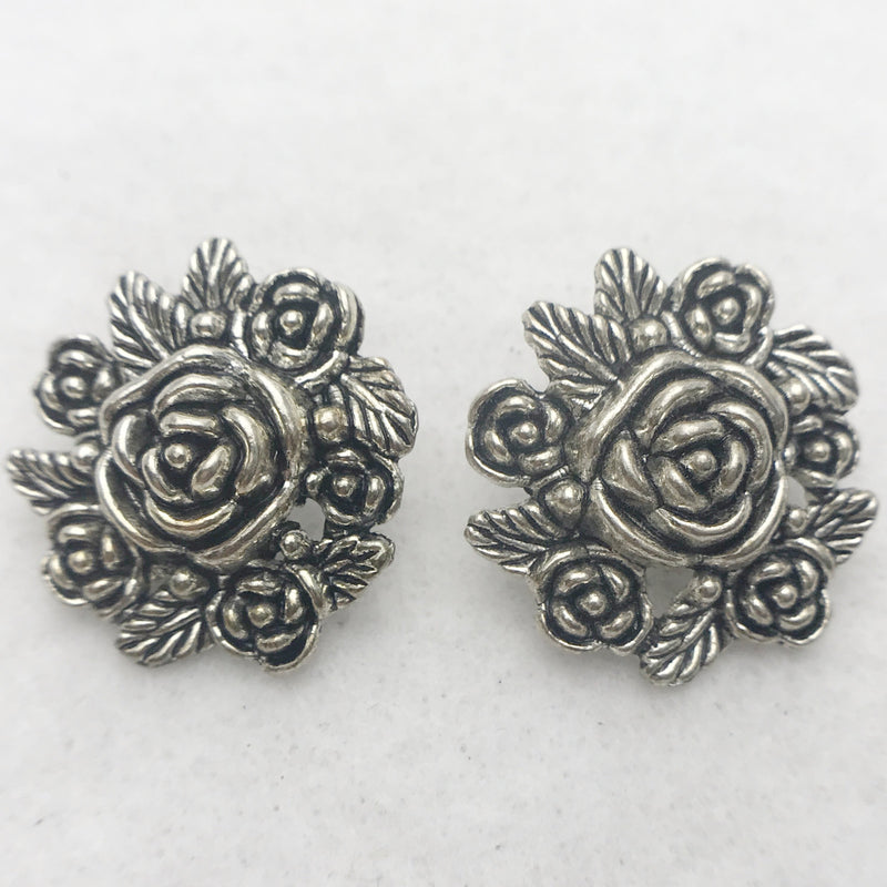 Flower Button Silver 25mm