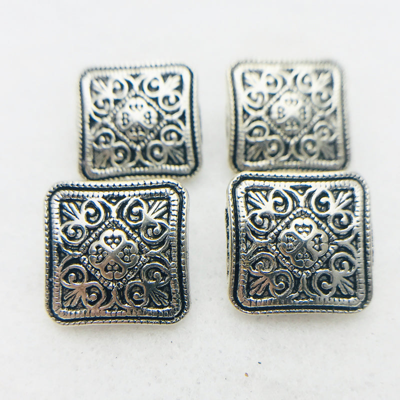 Silver Square Metal Button 16mm