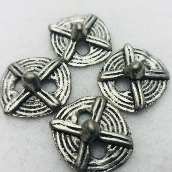tribal button antique silver 16mm