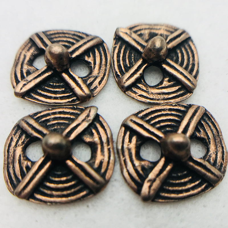 Tribal Button Antique Copper 18mm 4pieces