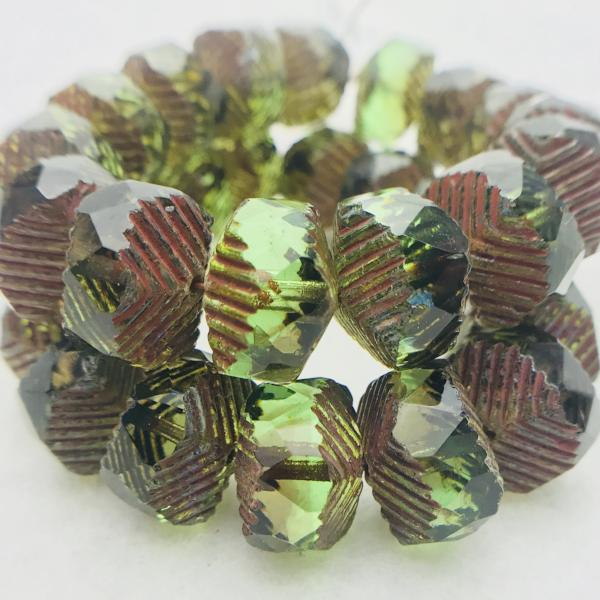 Wavy Rondelle Czech Glass beads in Olive Green Picasso