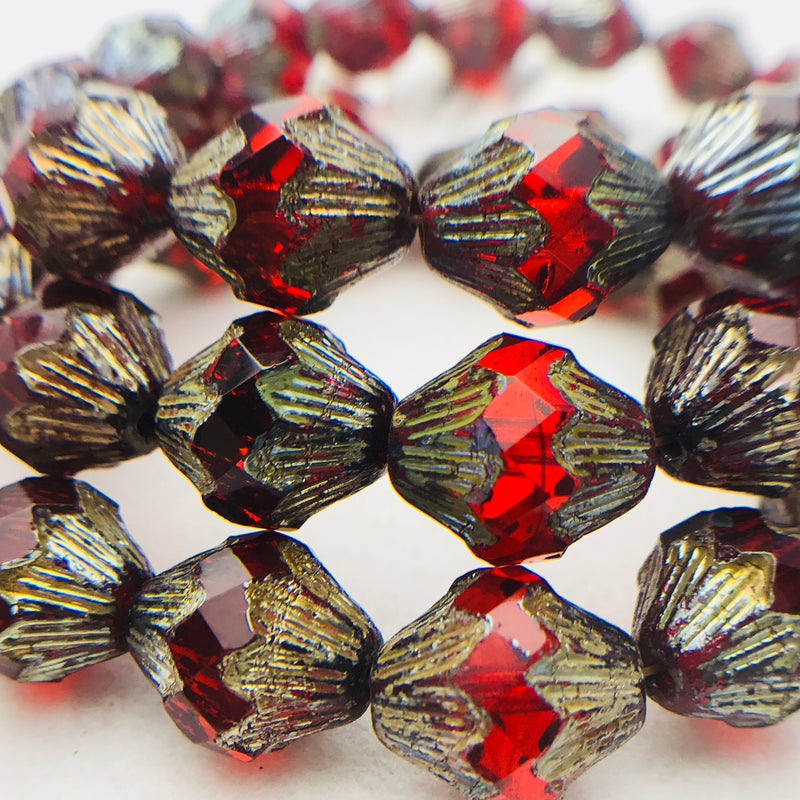 Baroque Bicone Czech Beads 10x11mm Ruby Red with Picasso