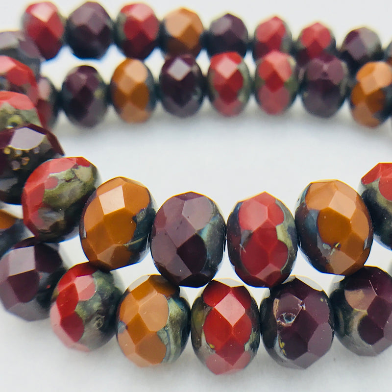 Rondelle Czech Glass Beads 7x5mm Red, Orange, Brown Mix