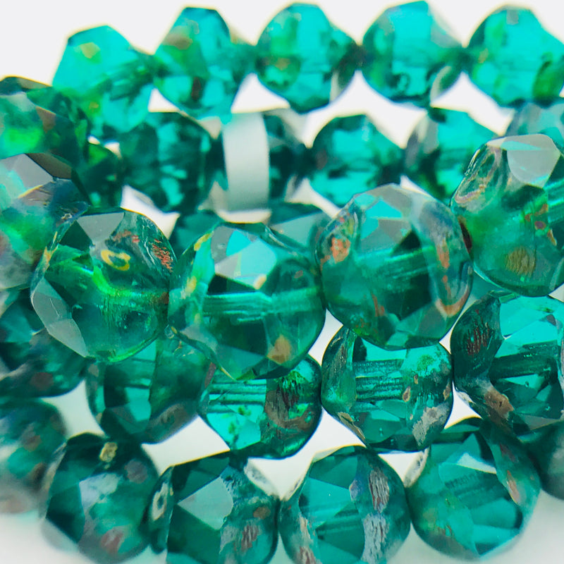 Baroque Czech Glass Beads, Emerald Green, 8mm