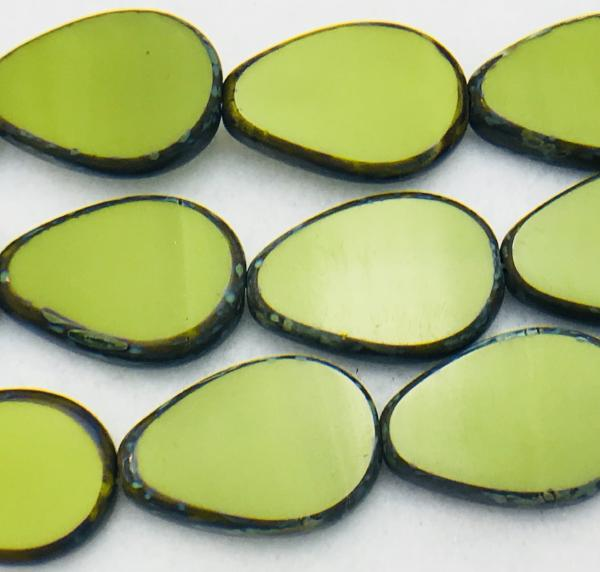 Avocado Oval Table Cut Czech Glass Beads