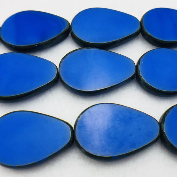 Opaque Blue Picasso Oval Table Cut Czech Glass Beads