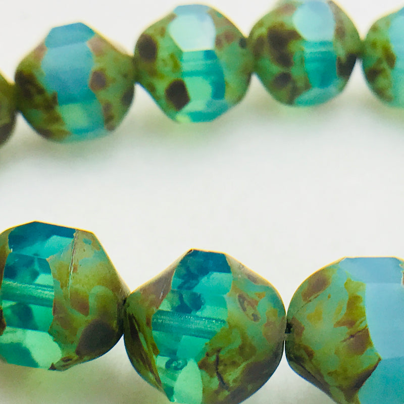 Baroque Czech Glass Beads, Green Turquoise, 8mm