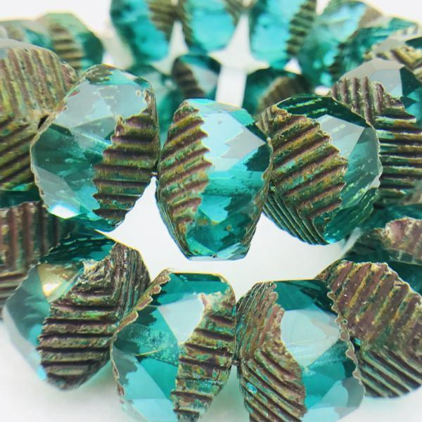 Wavy Rondelle Czech Glass beads in Aqua Picasso