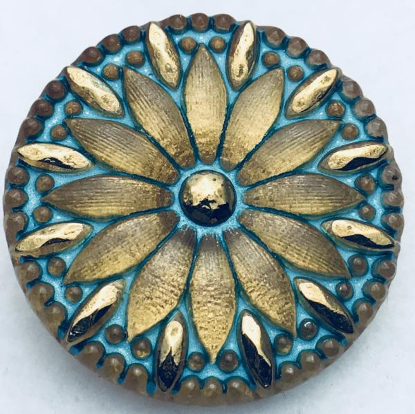 Flower Czech Button 30mm Gold Aqua