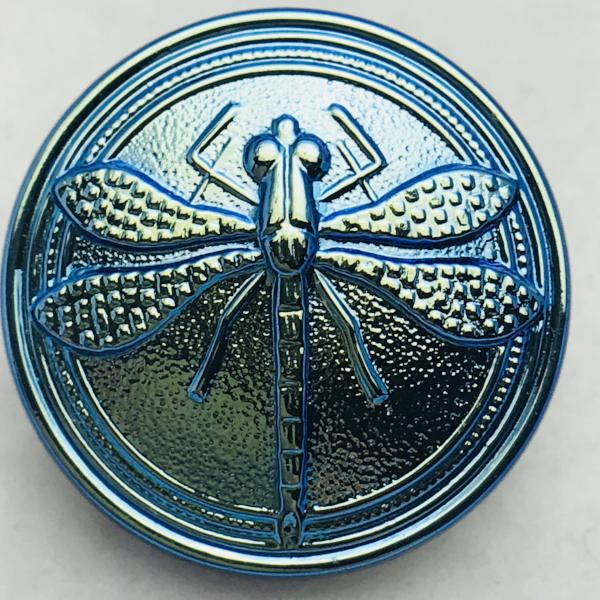 Dragonfly Czech Button 18mm Aqua
