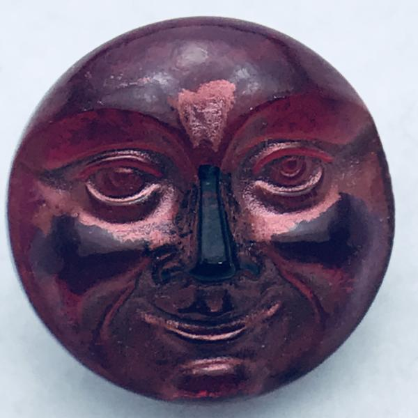 Moon Face Czech Button 18mm Red