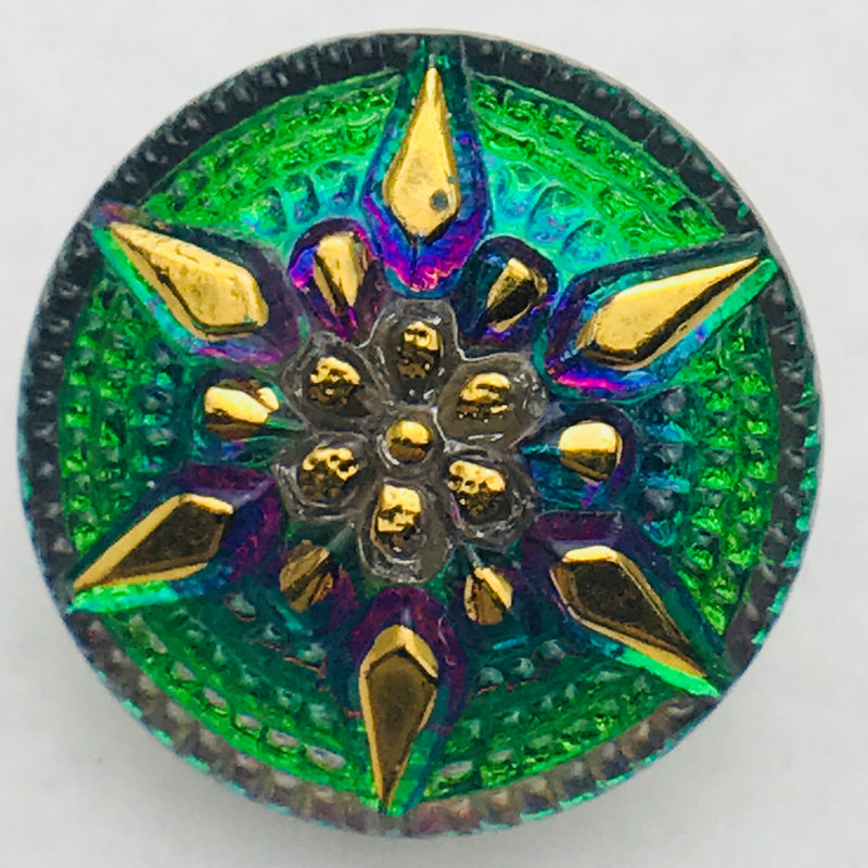 Star Czech Button 18mm Green with Gold