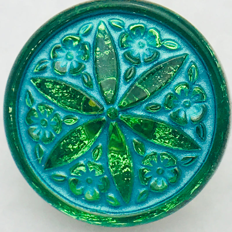 Star Flower Czech Button 18mm Peridot with Turquiose