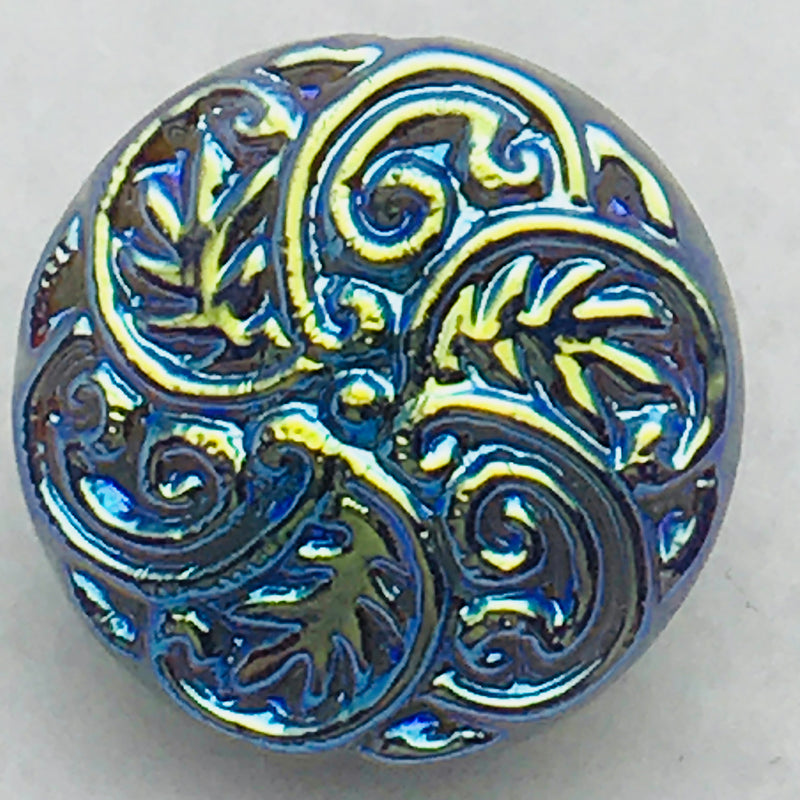 Swirly Leaf Motif Czech Button 13mm Vitral Blue Purple