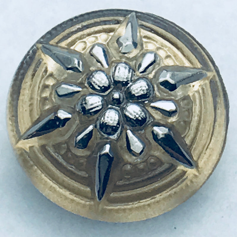 Star Czech Button 18mm Pale Gold with Silver