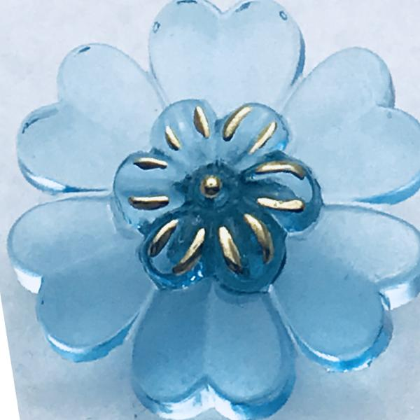 Flower Czech Button 22mm Aqua and Gold