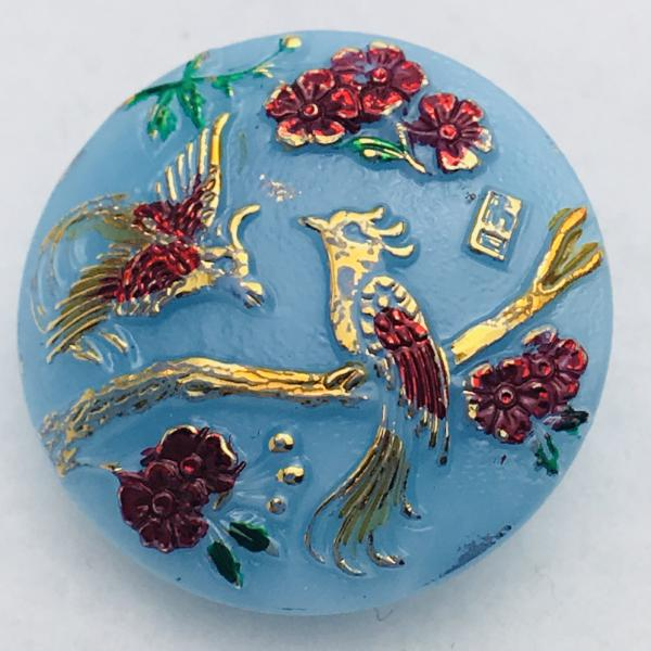 Birds in Tree Czech Button 22mm Baby Blue