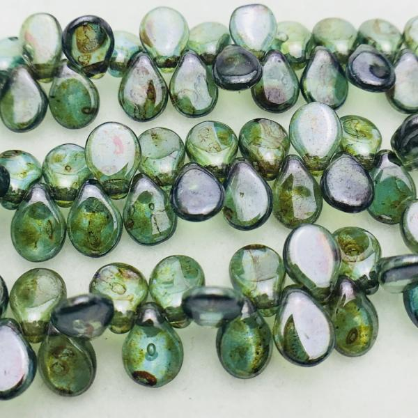 Aqua Travertine Pip Czech Glass Bead 7mm