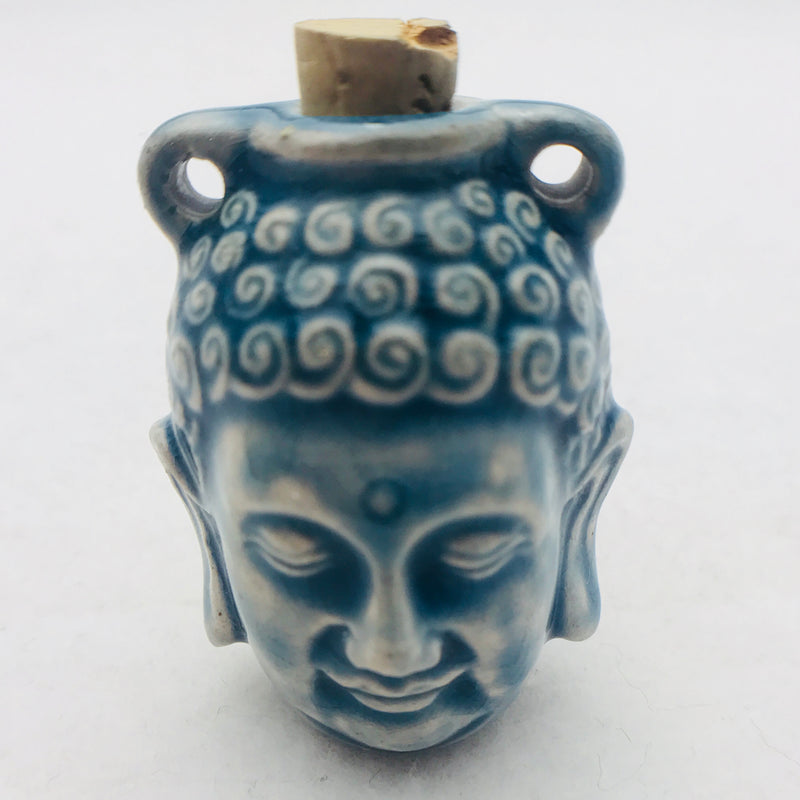 Buddha Head Ceramic Vessel, Blue Raku