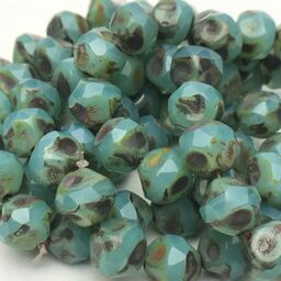 Baroque Czech Glass Beads, Sea Green w/ Picasso, 8mm