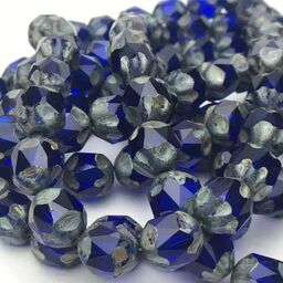 Baroque Czech Glass Beads, 10mm, Sapphire w/ Picasso