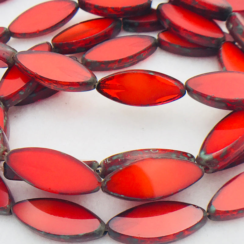 Spindle Table Cut Czech Glass Beads, Red Orange, 16x6mm