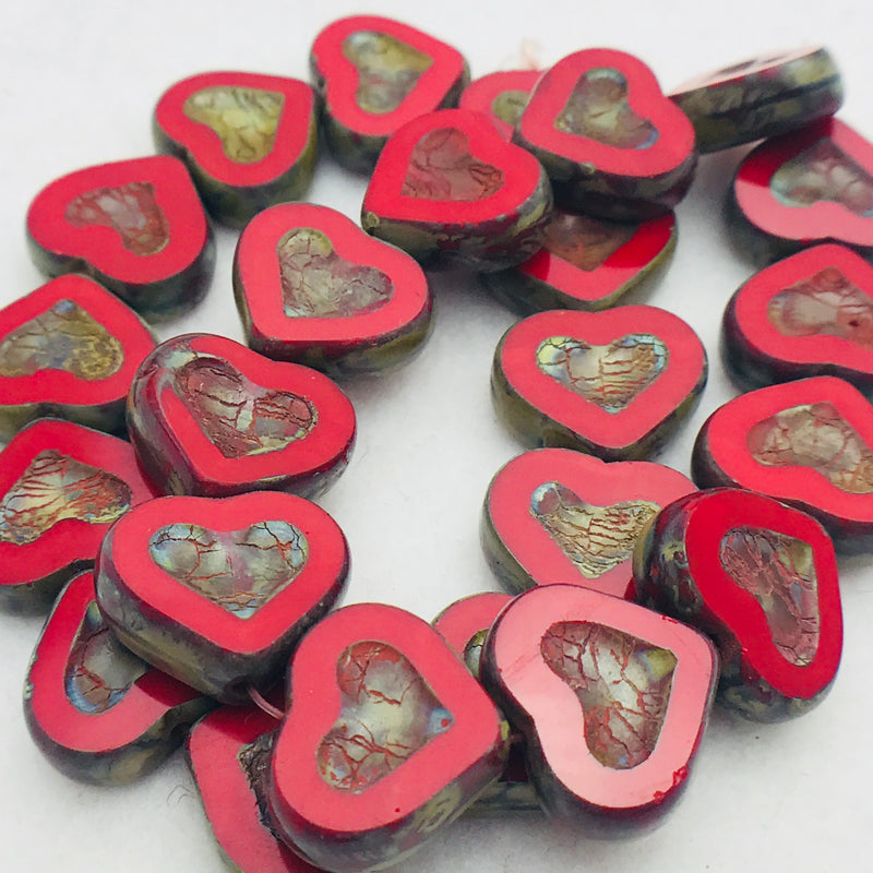 Heart Table Cut Czech Glass Beads, Red Picasso, 14x12mm