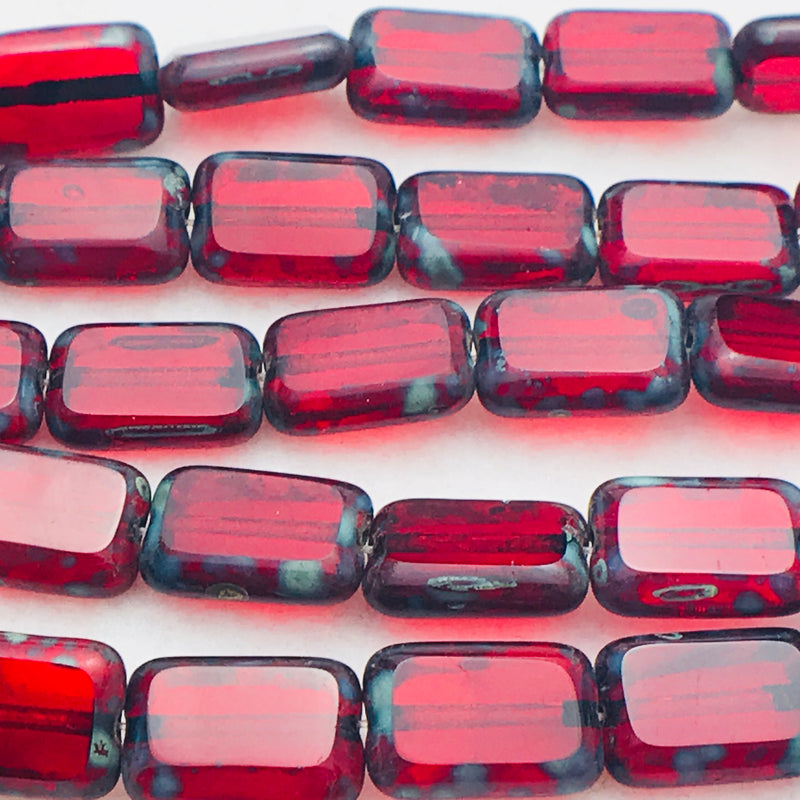 Rectangle Table Cut Czech Glass Beads Brick Red 12x8mm