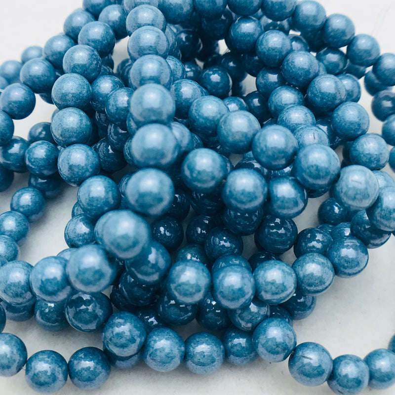 Druk Czech Glass Beads, Denim Opaque, Matte, 6mm