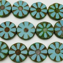 Daisy Coin Table Cut Czech Beads, 12mm, Turquoise w/ Picasso Finish