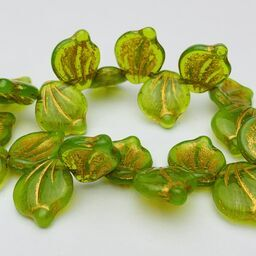 Leaf Czech Glass Beads, 12x14mm, Olive Green